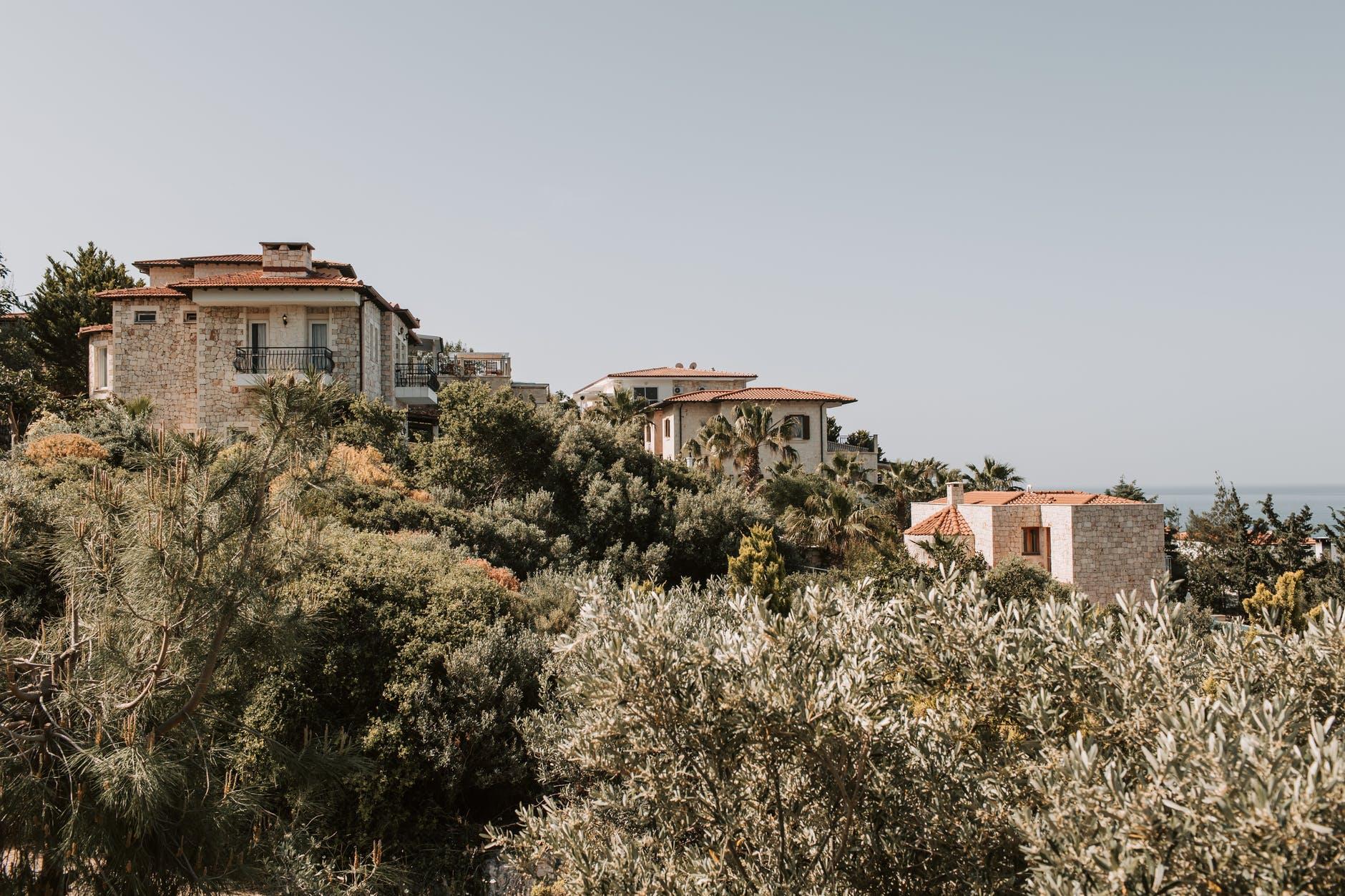 concrete houses built on a mountain