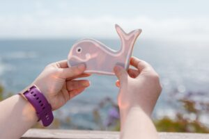 a person holding a whale shaped cookie